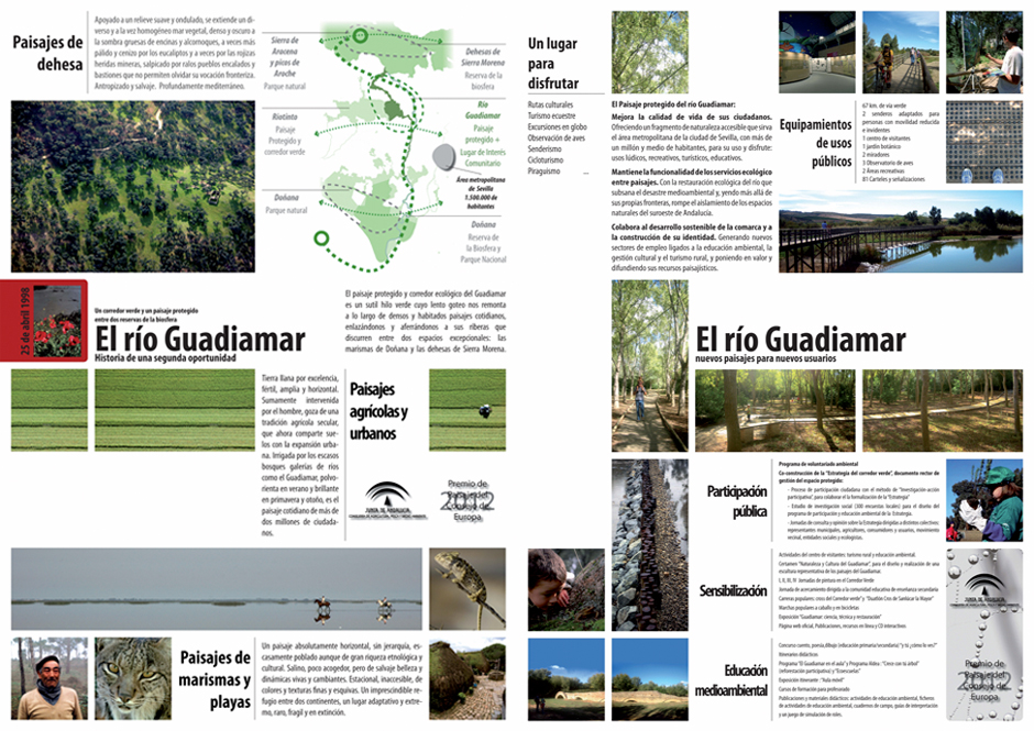 Carteles de la candidatura del Guadiamar al premio de paisaje del Consejo de Europa