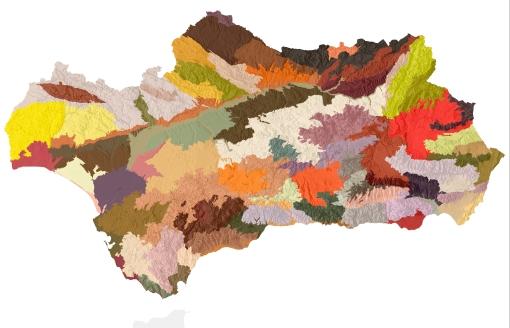 Ámbitos paisajísticos del mapa de paisaje de Andalucía